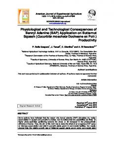 Physiological and Technological Consequences of Benzyl Adenine ...
