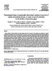 Physiological bases of genetically determined variation in growth of ...