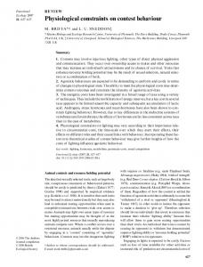 Physiological constraints on contest behaviour - BES journal