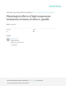 Physiological effects of high temperature treatments on leaves of olive