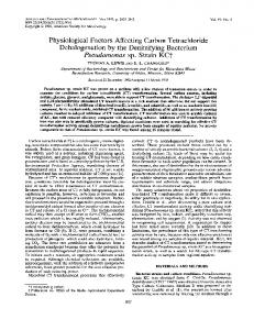 Physiological factors affecting carbon tetrachloride dehalogenation by ...