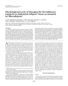Physiological Levels of Glucagon Do Not Influence Lipolysis in ...