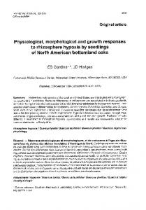 Physiological, morphological and growth responses to rhizosphere ...