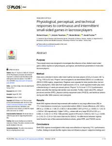 Physiological, perceptual, and technical responses to ... - PLOS