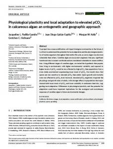 Physiological plasticity and local adaptation to ... - Wiley Online Library
