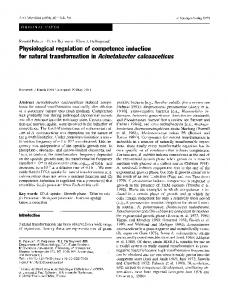 Physiological regulation of competence induction for natural ...