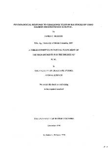 PHYSIOLOGICAL RESPONSE TO CHALLENGE ... - Open Collections