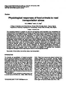 Physiological responses of food animals to road transportation stress
