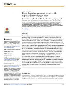 Physiological responses to acute cold exposure in young lean ... - PLOS