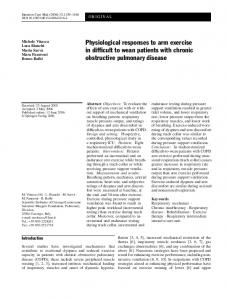 Physiological responses to arm exercise in difficult to ... - Springer Link