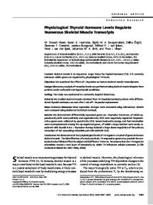 Physiological Thyroid Hormone Levels Regulate Numerous Skeletal ...