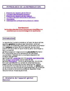PHYSIOLOGIE DE LA REPRODUCTION Introduction 1. Anatomie ...