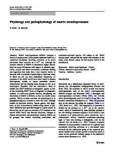 Physiology and pathophysiology of matrix metalloproteases - CiteSeerX