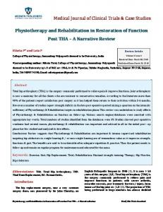 Physiotherapy and Rehabilitation in Restoration of ...