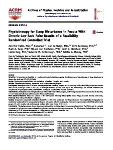 Physiotherapy for Sleep Disturbance in People With Chronic Low ...