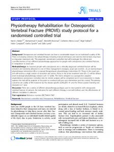 Physiotherapy Rehabilitation for Osteoporotic ... - BioMedSearch