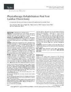 Physiotherapy Rehabilitation Post First Lumbar