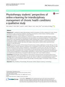 Physiotherapy students' perspectives of online e-learning - Springer Link