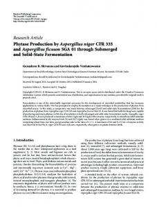 Phytase Production by Aspergillus niger CFR 335 and Aspergillus