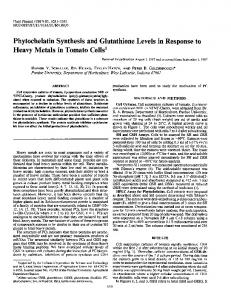 Phytochelatin Synthesis and Glutathione Levels in Response to - NCBI