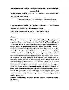 Phytochemical and Biological Investigations of ...