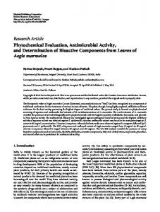 Phytochemical Evaluation, Antimicrobial Activity, and Determination of