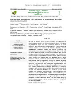 PHYTOCHEMICAL INVESTIGATION AND COMPARISON OF