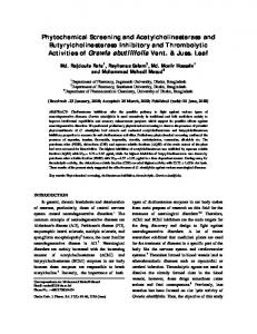 Phytochemical Screening and Acetylcholinesterase ...