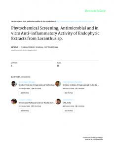 Phytochemical Screening, Antimicrobial and in vitro