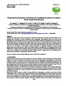 Phytochemical Screening, Antioxidant and Antibacterial activity of ...