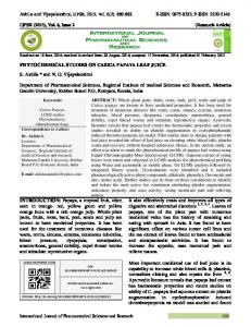 PHYTOCHEMICAL STUDIES ON CARICA PAPAYA LEAF JUICE