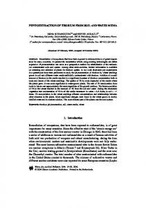 Phytoextraction of Thorium from Soil and Water Media - Springer Link