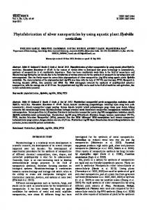 Phytofabrication of silver nanoparticles by using