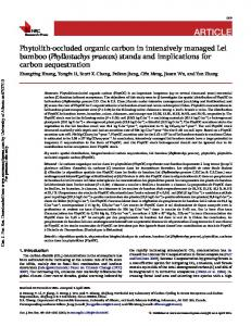Phytolith-occluded organic carbon in intensively ...
