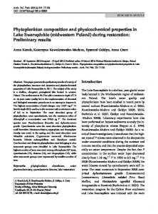 Phytoplankton composition and physicochemical properties in Lake ...