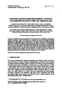 phytoplankton photosynthetic activity and growth rates ...