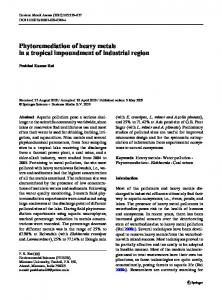 Phytoremediation of heavy metals in a tropical ... - Springer Link