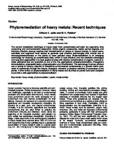 Phytoremediation of heavy metals: Recent ... - Academic Journals