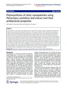 Phytosynthesis of silver nanoparticles using Pterocarpus ... - Core