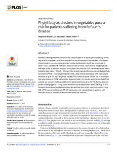 Phytyl fatty acid esters in vegetables pose a risk for