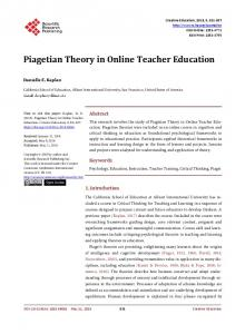 Piagetian Theory in Online Teacher Education - Scientific Research