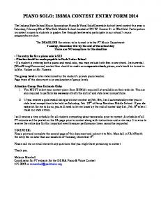 PIANO SOLO: ISSMA CONTEST ENTRY FORM 2014