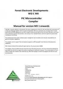 PIC C Compiler Manual - Forest Electronics