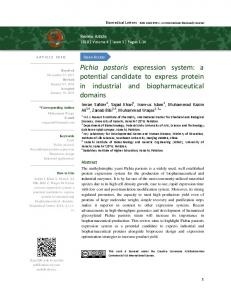Pichia pastoris expression system - The Science Publishers