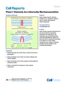 Piezo1 Channels Are Inherently Mechanosensitive - Cell Press