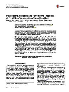 Piezoelectric, Dielectric and Ferroelectric Properties of - Springer Link