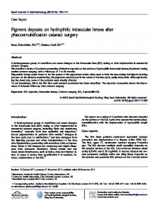 Pigment deposits on hydrophilic intraocular lenses after ...