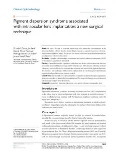 Pigment dispersion syndrome associated with ... - Semantic Scholar