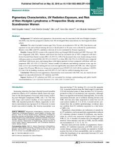 Pigmentary Characteristics, UV Radiation Exposure, and Risk of Non ...