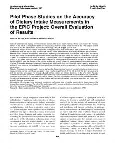 Pilot Phase Studies on the Accuracy of Dietary Intake ... - CiteSeerX